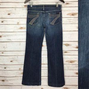 7 For All Mankind White Stitch Dojo Flare Jeans